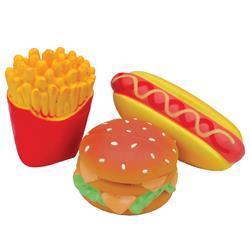 """4"""" Hamburger, French Fries, & Hot Dog Li'l Pals® Latex Toy Set"""