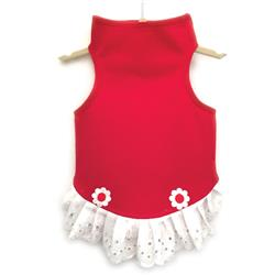 Red Jersey Dress with Eyelet Trim and Flower Detail