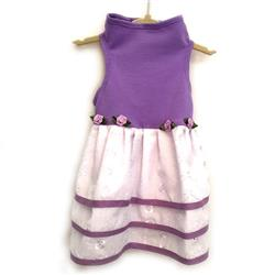 Lilac Cotton Jersey Top with Triple White Eyelet Skirt