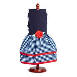 Navy Top with Multi Navy Gingham Layer Skirt