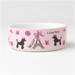 I Love Paris Dog Bowl, 2 cups, pink