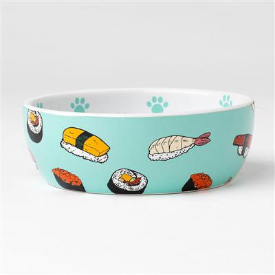 Sushi Time Shallow Cat Bowl, 1.75 cups
