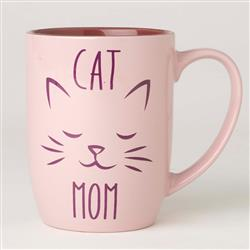 Cat Mom Stoneware Mug, Pink