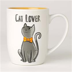 Cat Lover Stoneware Mug, White/Yellow