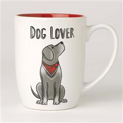 Dog Lover Stoneware Mug, White/Red
