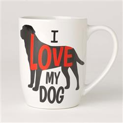 I Love My Dog Stoneware Mug, White