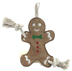 Gingerbread man stuffless rope toy by Simply Fido