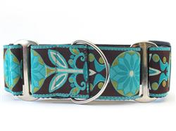 Boho Peacock Extra Wide Martingale Dog Collar