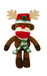 """11"""" Holiday Sock Monkey Max - Reindeer by Lulubelles"""