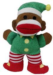 "7.5"" Holiday Baby Sock Monkey Twinkle Elf by Lulubelles"