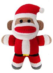 "7.5"" Holiday Baby Sock Monkey Jolly Santa by Lulubelles"