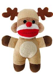 "7.5"" Holiday Baby Sock Monkey Reindeer Jingle by Lulubelles"