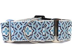 Santorini by the Sea Extra Wide Martingale Dog Collar