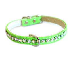 Jackie O Single Row Cotton/ Vegan Dog Collar  - Lime