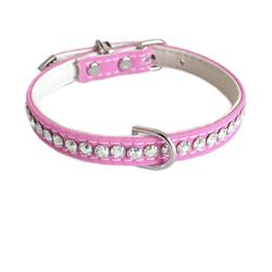 Jackie O Single Row Cotton/ Vegan Dog Collar  - Light Pink