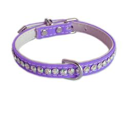 Jackie O Single Row Cotton/ Vegan Dog Collar  - Purple