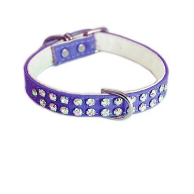Charlotte Double Row Cotton/Vegan Leather Collar - Purple