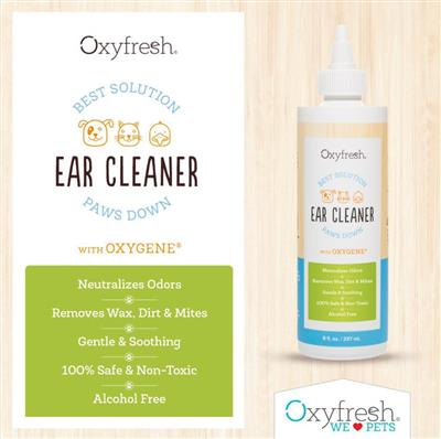 Pet Ear Cleaner- Alcohol Free & No Rinse by Oxyfresh - 8 oz. Bottle