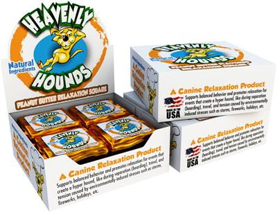 Heavenly Hounds - Display Shipper with 6 Boxes of 12 Individually Wrapped 2 oz. Relaxation Squares
