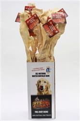"Whole Dried Water Buffalo Skin 30"" Dog Treat Chew w/ Display Box (12 pcs)"