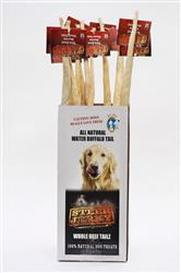 Whole Dried Beef Tail Dog Treat Chew Steer Jerky Brand w/ Display (12 pcs)