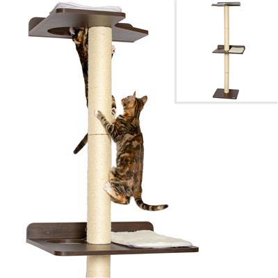Ultimate Cat Climbing Tower & Activity Tree. (Tall sisal Scratching Posts, Modern cat Furniture, Espresso Finish).
