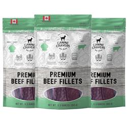 Premium Beef Fillets - Canine Cravers Dog Treats, 5.3oz. Bags