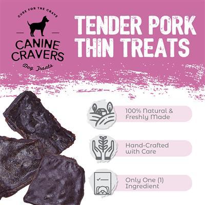 Tender Pork Thins - Canine Cravers Dog Treats, 5.3oz. Bags