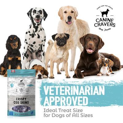 Crispy Cod Skins - Canine Cravers Dog Treats, 4oz. Bags
