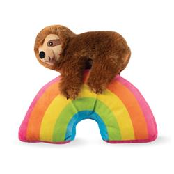 Sloth On A Rainbow Plush Dog Toy
