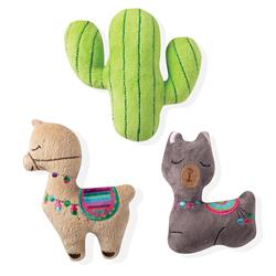 Llama Cactus 3 Piece Small Dog Toy Set