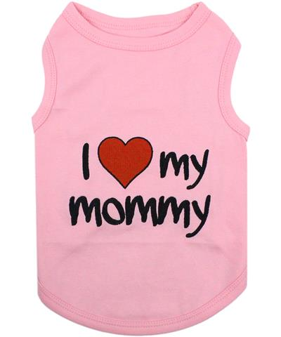 I Love Mommy - Pink Dog T-Shirt