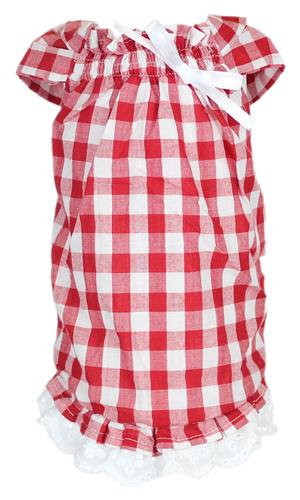 Checkered Red Tunic Country Dress