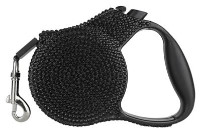 Black Crystal Retractable Leash