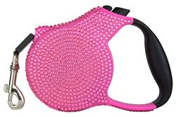 Pink Crystal Retractable Leash