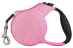 Light Pink Crystal Retractable Leash