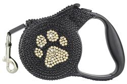 Gold Paw Crystal Retractable Leash