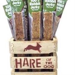 Hare of the Dog 100% Rabbit Jerky Stick Starter Kit.  36 Jerkies and wooden display