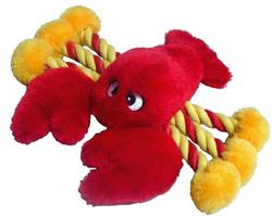"""Lobster Dog Toy - Rope and Plush Construction - 19"""" - Cute and Colorful!"""