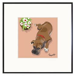 Framed Print: Boxer and Flower Pot