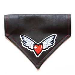 Heart & Wings w/ USA Flag Faux Leather Dog Bandana - Over the Collar Style in 5 Sizes |  BUY 5 GET 6th FREE