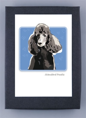 Poodle, Black - Grrreen Boxed Note Cards