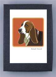 Basset Hound Profile - Grrreen Boxed Note Cards