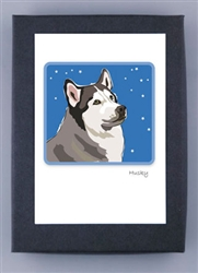Husky & Stars - Grrreen Boxed Note Cards