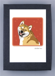 Shiba Inu Smiling - Grrreen Boxed Note Cards