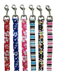 Striped and Skull Flower Canvas Leashes