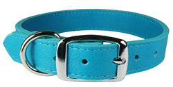 Turquoise Luxe Leather Dog Collar / Lead