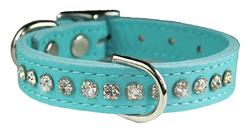 Baby Blue Signature Leather Crystal Collar