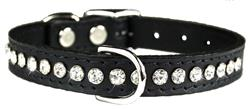 Black Signature Leather Crystal Collar
