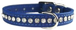 Blue Signature Leather Crystal Collar